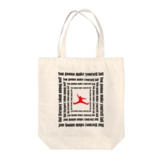 落ちる人 red Tote bags