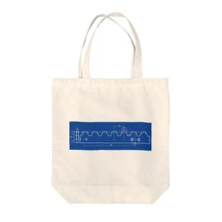 ラックレール(青焼図面風) Tote bags