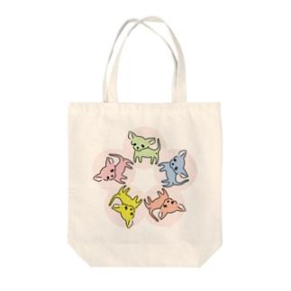ゆるチワワ(フラワーサークル) Tote bags