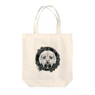 切刻亭の土佐犬と春の花・切り絵 Tote bags