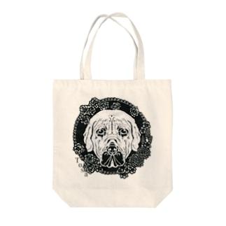 土佐犬と春の花・切り絵 Tote bags