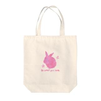 うさぎのモックシルエット 春 Tote bags