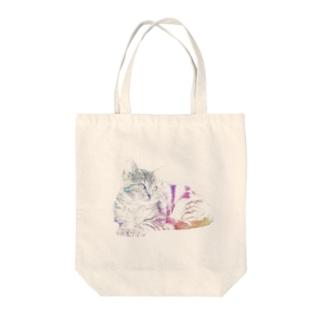 猫 レインボーエディション Tote bags