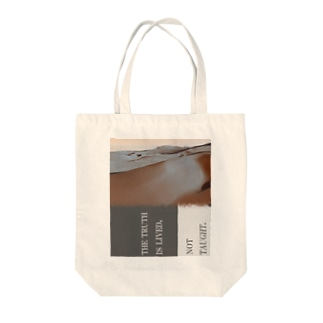 THE TRUTH IS LIVED, NOT TAUGHT. Tote bags