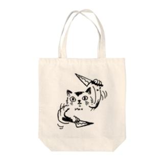 刃物を振り回すネコ Tote bags