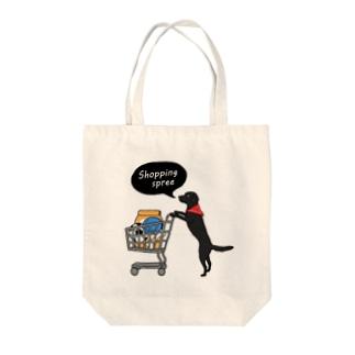 お買い物ワンコ 黒ラブ(バンダナ) Tote bags