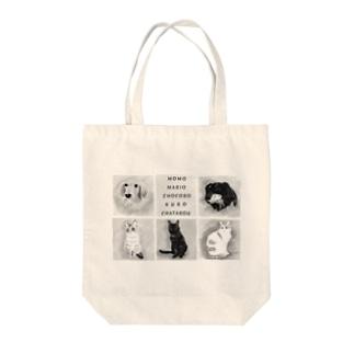 前面プリント 3にゃん&2ワンコ Tote bags
