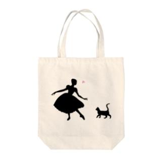 ねこ×バレリーナ Tote bags