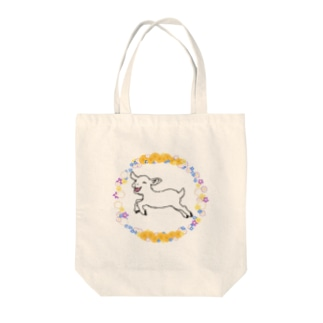 春をよろこぶ子ヤギ-花わっか Tote bags