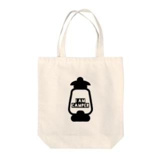 I AM CAMPER Tote bags
