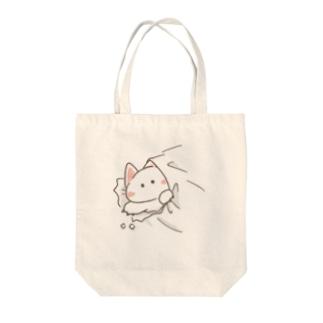 突き破りネコさん Tote bags