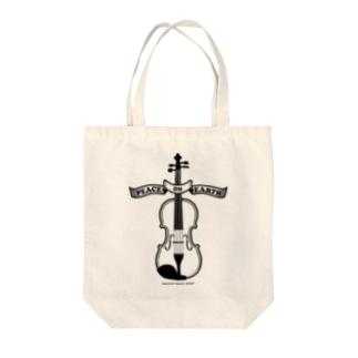 バイオリン/Peace on Earth黒 Tote bags