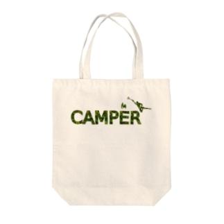 CAMPER 焚き火に向かって Tote bags