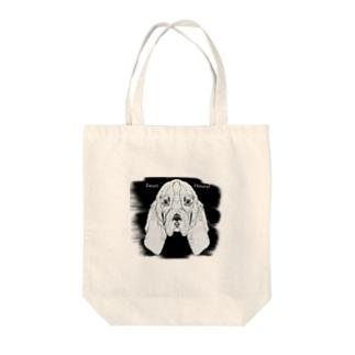 バセットハウンド・切り絵 Tote bags