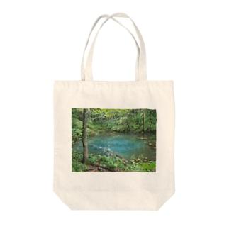 青い池 Tote bags