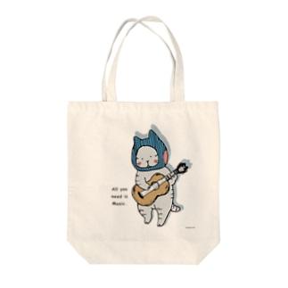 ギターねこ Tote bags