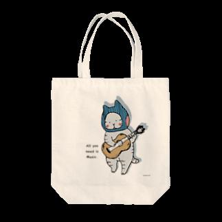 ほっかむねこ屋@ 1/6→1/12  にゃんこ展 / 原宿デザフェスギャラリーのギターねこ トートバッグ