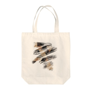 ブラシストロークモノクロドライフラワー  Tote bags