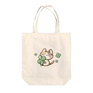 三毛猫さんとクローバー Tote bags