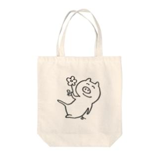 3びきのぶたさんのぶた三郎の優しくなれるバッグ Tote bags