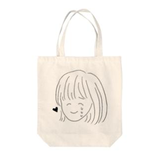 泣き笑いする女の子 Tote bags