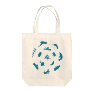 ウミウシルエット(アクア) Tote bags