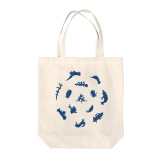 ウミウシルエット(ブルー) Tote bags