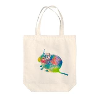 虹色デグー Tote bags
