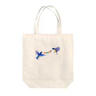 【アクリル画Artist erika】幸せの青い鳥 Tote bags
