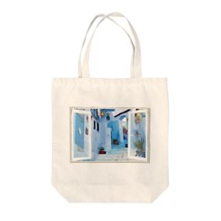 どこでも窓モロッコの町シャウエン Tote bags