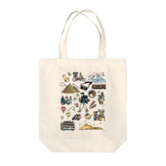 around the world  Tote bags