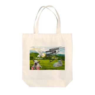 PLAY→PRAY Tote bags