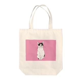みーこおすわりイラスト 猫 白黒猫 保護猫 イラスト Tote bags