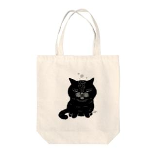 ねこの寝落ち(黒猫) Tote bags