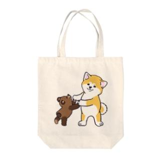 秋田犬とぬいぐるみクマさん Tote bags