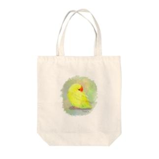 キガシラアオハシインコ Tote bags