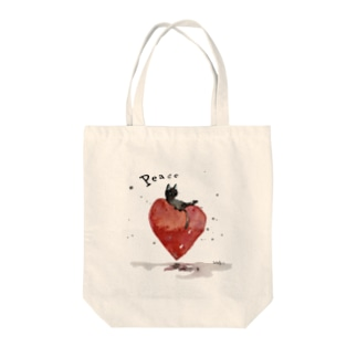 Peace cat Tote bags