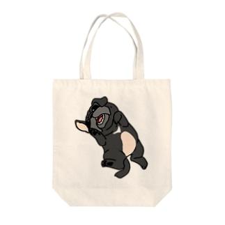 パグ(黒)トートバッグ Tote bags