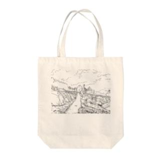 キャンプサイト Tote bags