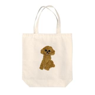 刺繍のトイプードル Tote bags