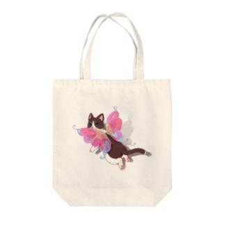 ハチワレ猫の妖精さん Tote bags