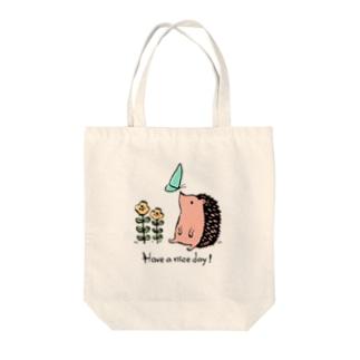 ハリネズミの「良い1日を!」 Tote bags