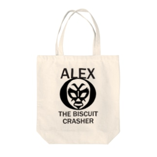 ALEX THE BISCUIT CRASHER Tote bags