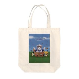 ドッカーン Tote bags