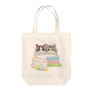 カラフルケーキな猫グッズ Tote bags