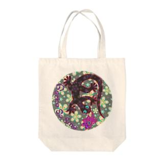 月光装身具ロゴコミカル花柄 Tote bags