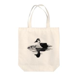 カルガモ(モノクロ) Tote bags