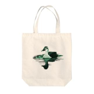 カルガモ(グリーン) Tote bags