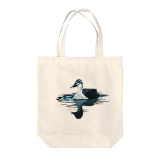 カルガモ(スカイブルー) Tote bags