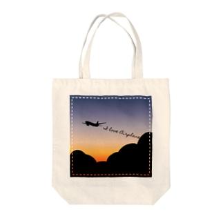 ひこうき(夕焼け) Tote bags